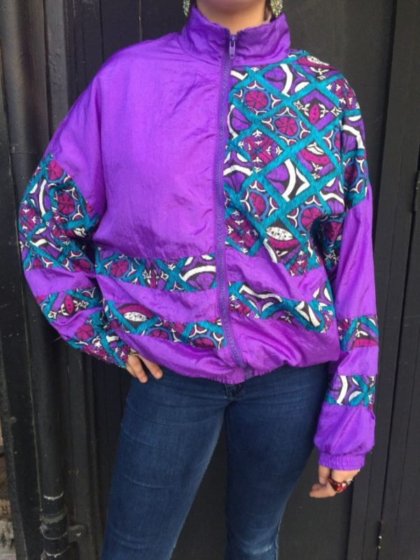 1980'S BRIGHT MOROCCAN STYLE GEOMETRIC DESIGN WINDBREAKER