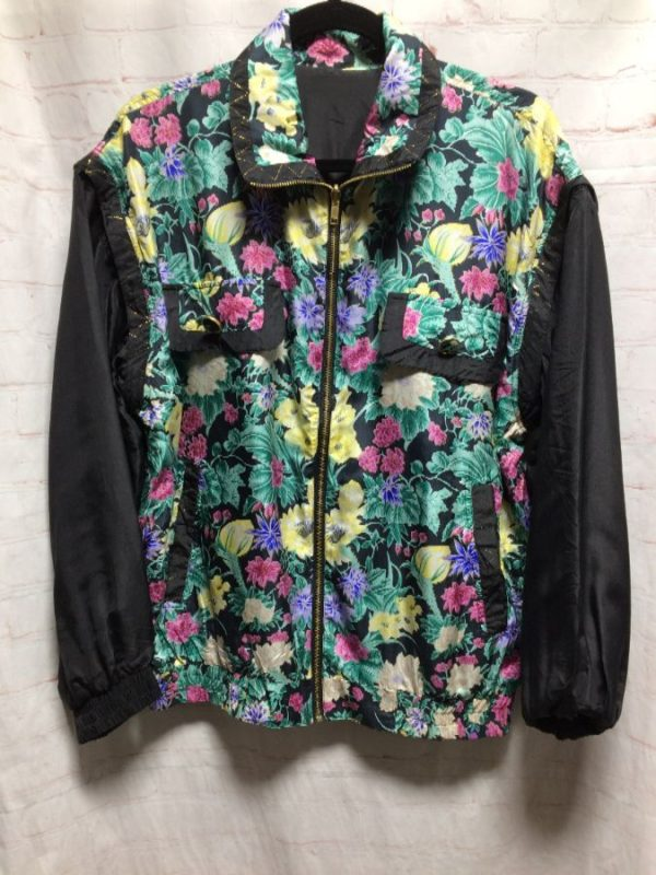 SOLID & FLORAL PRINT REVERSIBLE WINDBREAKER W/ DECORATIVE BUTTONS
