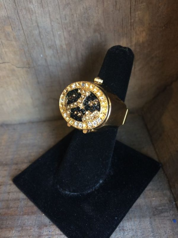 RING/WATCH W/ ABSTRACT RHINESTONE DESIGN ON OUTER COVER & WATCH INSIDE