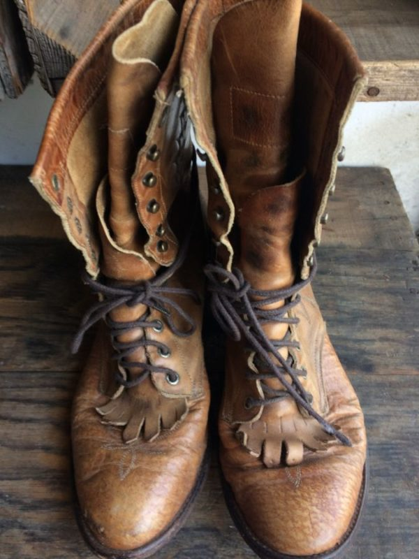 product details: VINTAGE TONY LAMA ROPER LACE-UP BOOTS W/ FRINGE photo