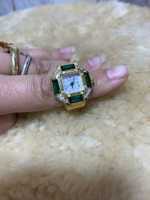 product details: WATCH RING SQUARE FACE EMERALD STONES photo