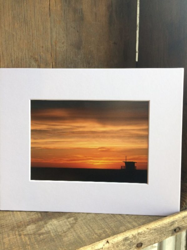 LIFEGUARD POST AGAINST SUNSET BACKGROUND MOUNTED PHOTOGRAPH SCENE