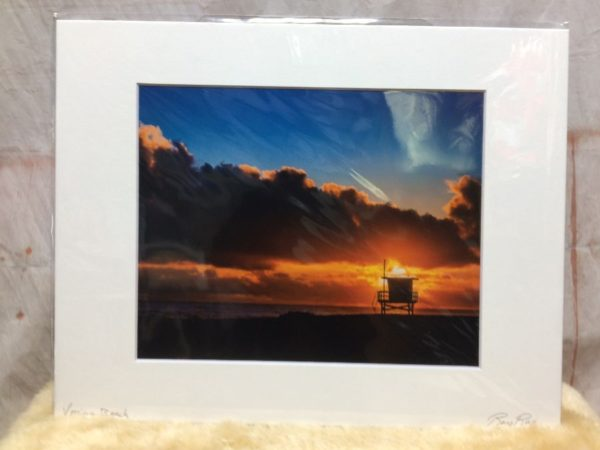 product details: VENICE SUNSET LIFEGUARD STAND  MOUNTED PHOTOGRAPH photo