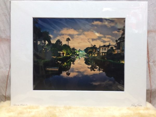 VENICE CANALS AT NIGHT TIME MOUNTED PHOTOGRAPH SCENE