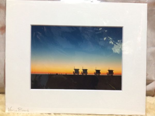 product details: LIFEGUARD POSTS ON THE SUNSET SCENE MOUNTED PHOTOGRAPH photo