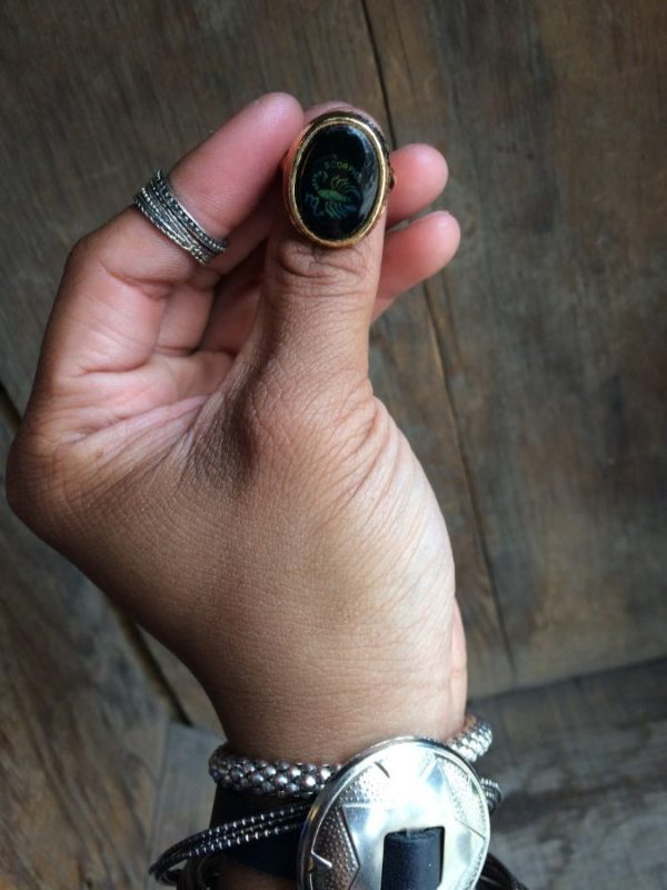 ASSORTED ZODIAC SIGN MOOD RINGS W/ GOLD OR SILVER MOUNTINGS