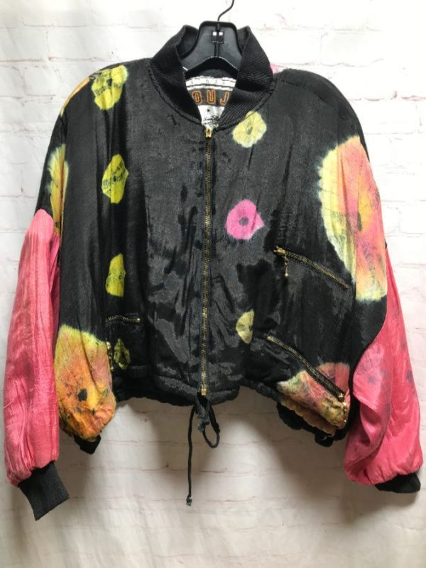 RAW SILK FUNKY TIE-DYED COLOR-SPLOTCHED CROPPED BOMBER W/ ZIPPERED POCKETS