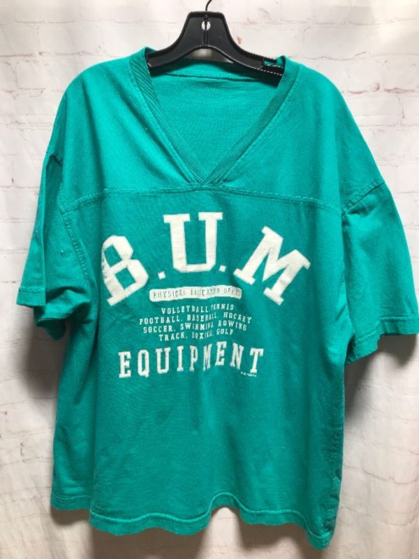 1993 COMFY ATHLETIC V-NECK B.U.M EQUIPMENT PHYSICAL ED DEPT. BOXY CUT T-SHIRT