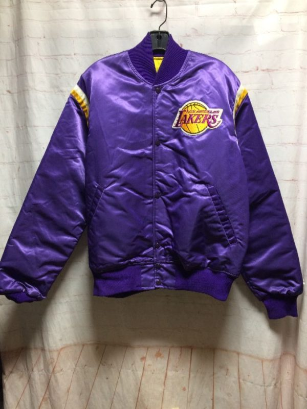 product details: LOS ANGELES LAKERS SATIN STARTER JACKET ARM STRIPES photo