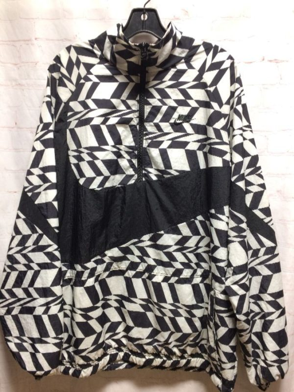 SUPER FUNKY ABSTRACT DESIGN NIKE WINDBREAKER PULLOVER W/ 1/2 ZIP-UP NECK