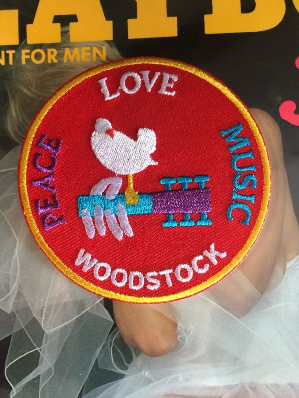 product details: CLASSIC WOODSTOCK EMBROIDERED PATCH CIRCLE SHAPE W/ PEACE LOVE & MUSIC photo