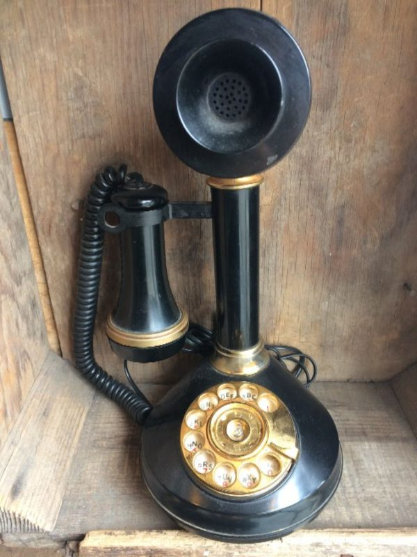 product details: ANTIQUE CANDLESTICK REPLICA TELEPHONE photo