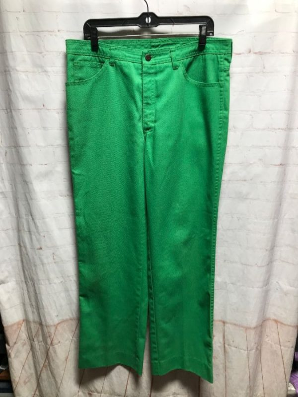product details: 1970'S EMERALD GREEN STRAIGHT LEG DENIM JEANS photo