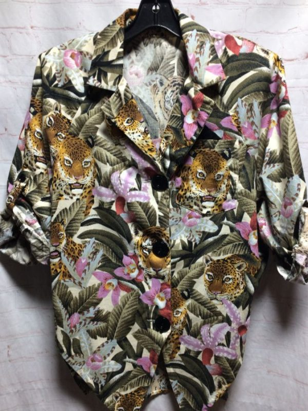 product details: 1980'S TIGER & FLORAL PRINT SHIRT W/ BIG BUTTONS & ADJUSTABLE SLEEVES photo