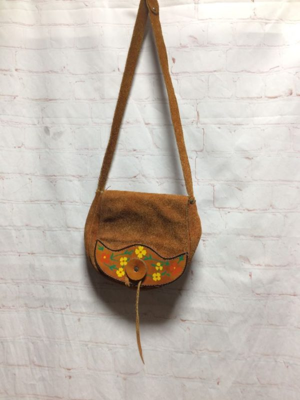 HANDBAG SUEDE & HAND PAINTED FLOWERS ON LEATHER FLAP CLOSURE
