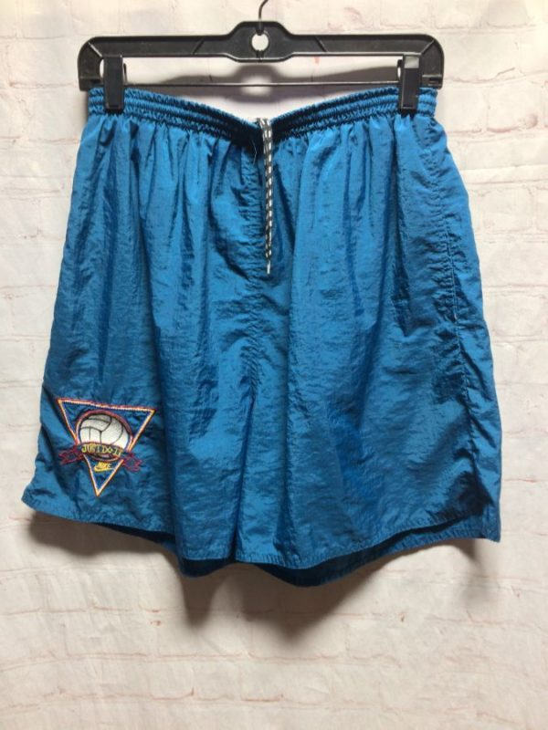 RARE NYLON NIKE JUST DO IT SHORTS W/ EMBROIDERED VOLLEYBALL LOGO & GRAY TAG