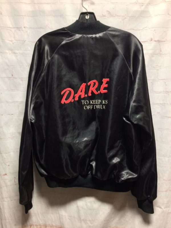 CLASSIC SATIN DARE BOMBER JACKET WITH SCREEN PRINTED LOGO ON BACK