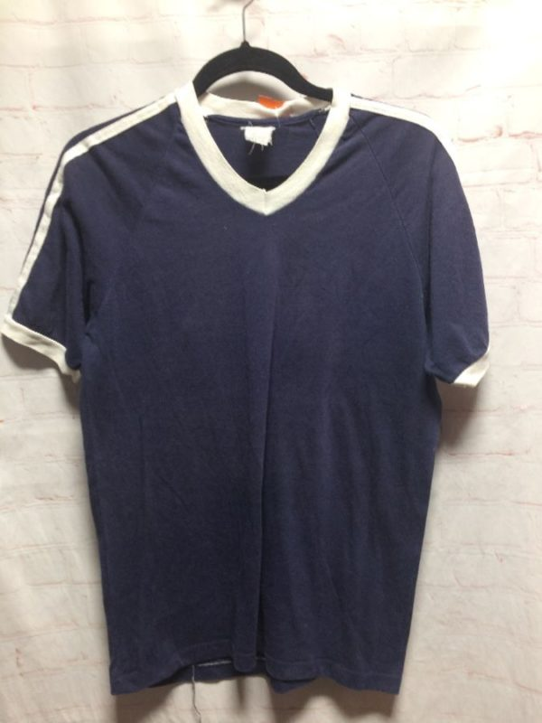 BASIC 50/50 RINGER TEE V-NECK STRIPED SLEEVES