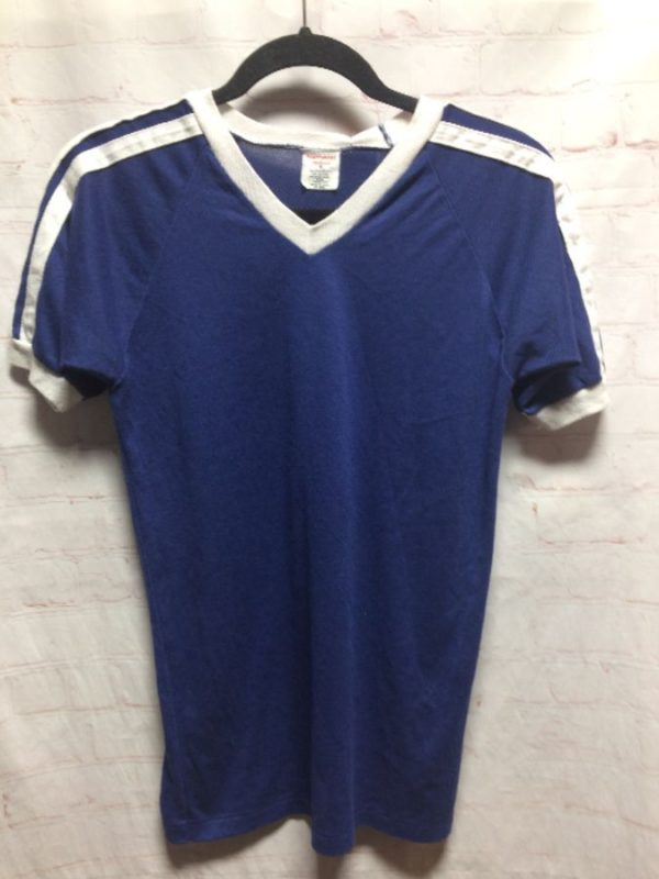 BASIC 50/50 RINGER TEE V-NECK W/ STRIPED SLEEVES