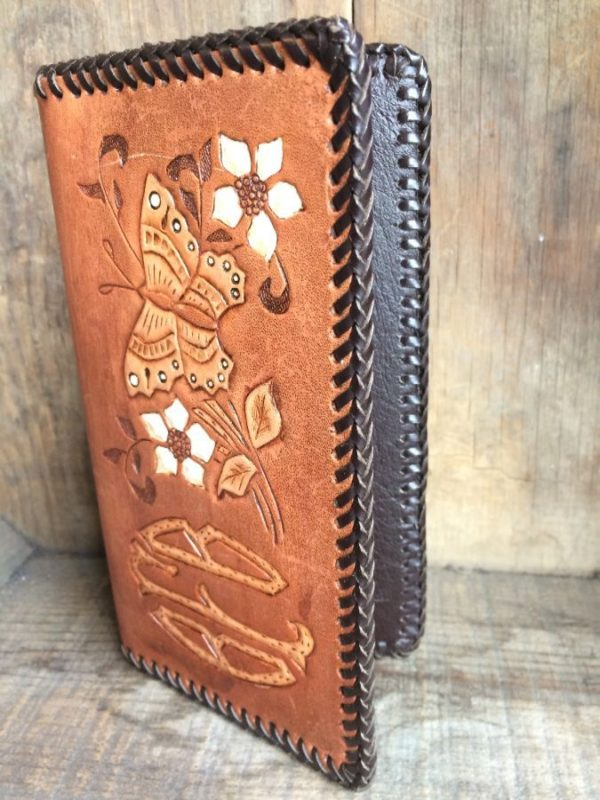 WHIP STITCHED LEATHER CHECKBOOK COVER W/ HAND TOOLED FLORAL DESIGN