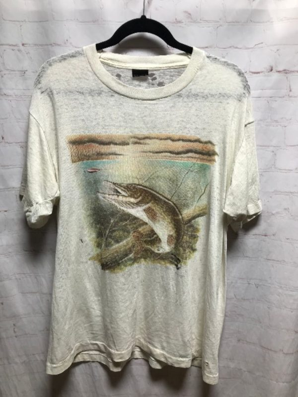 product details: VINTAGE LAKE W/ JUMPING FISH SCENE SUPER THIN T-SHIRT photo
