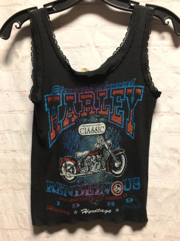 RIBBED COTTON TANK TOP – 11TH ANNUAL HARLEY 1980 CLASSIC W/ LACE TRIM