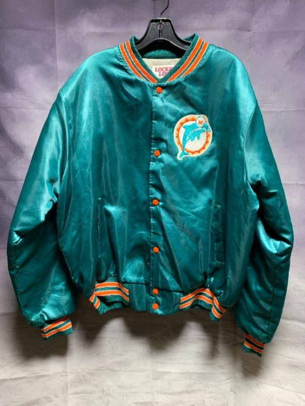 SATIN MIAMI DOLPHINS SPORTS JACKET W/ LEFT CHEST EMBROIDERED PATCH
