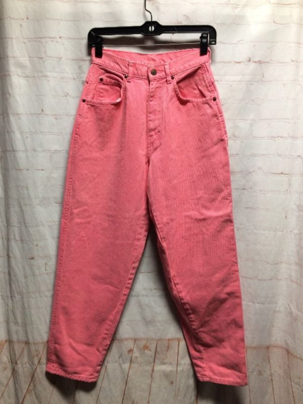 product details: DENIM BRIGHT SOLID COLOR PANTS W/ HIGH WAIST & TAPERED LEG photo
