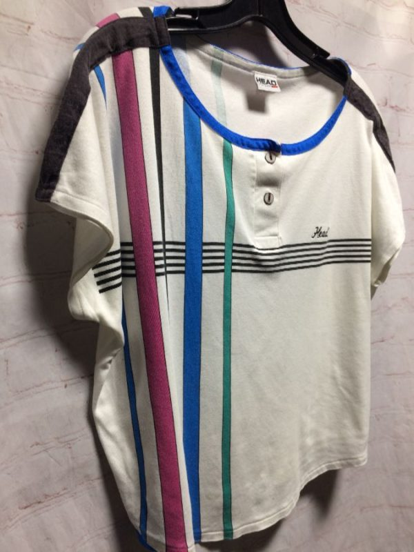product details: 1980'S SOFTY CROPPED TOP W/ COLOR-BLOCK STRIPES photo