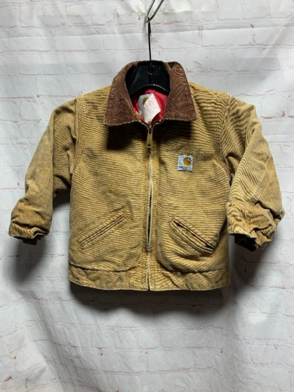 RARE LITTLE KIDS VINTAGE HEAVY CANVAS CARHARTT ZIP-UP JACKET QUILTED LINING
