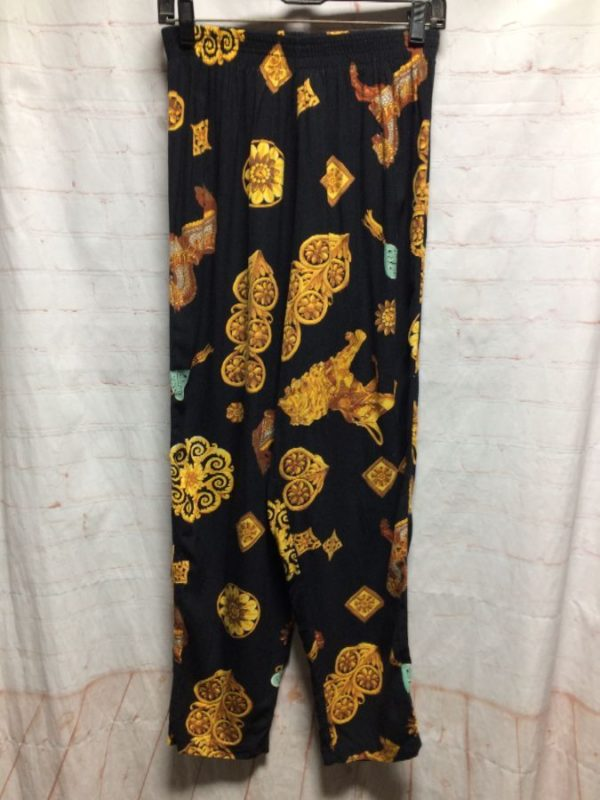 product details: FUN FUNKY BAROQUE STYLE PRINT RAYON BEACH PANTS photo