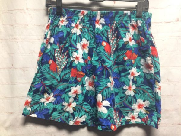 COTTON TROPICAL FLORAL PRINT W/ HIBISCUS & PARROTS SHORTS