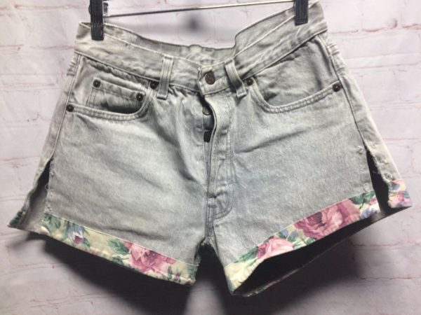 product details: REWORKED DENIM SHORTS LEVIS 501 BUTTON FLY W/ FLORAL CUFFS & HEART PATCH photo