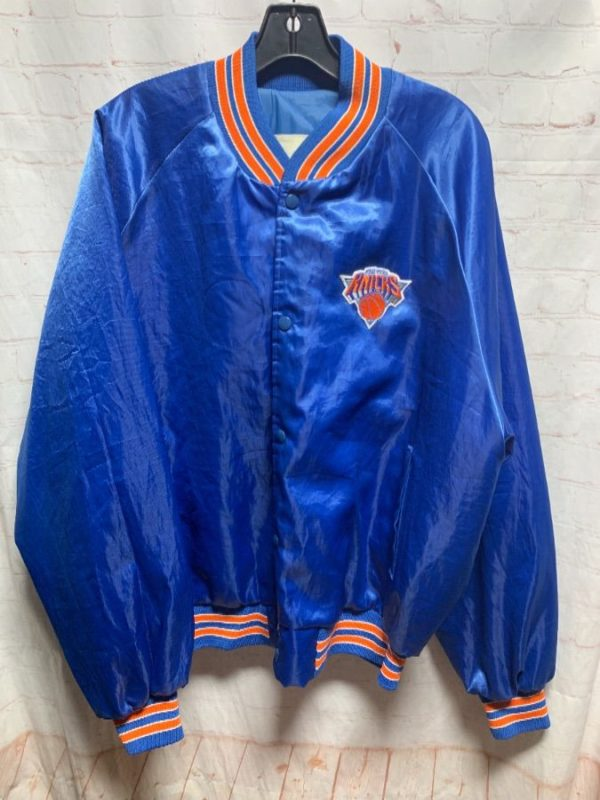 product details: NBA NEW YORK KNICKS SATIN BUTTON UP JACKET AS-IS photo