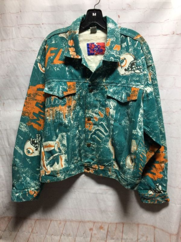1990'S VINTAGE MIAMI DOLPHINS ALL-OVER PRINT NFL DENIM JACKET
