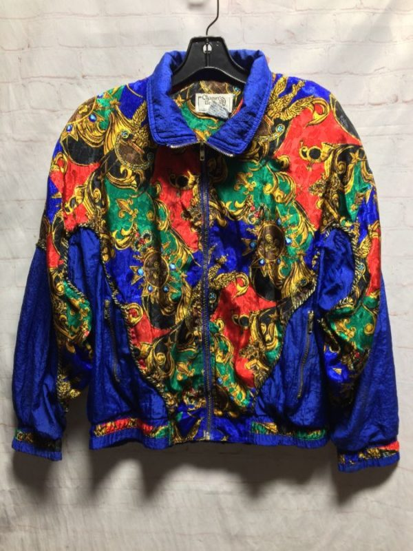 SUPER FUNKY BAROQUE STYLE SILKY BOMBER W/ STITCH DETAIL