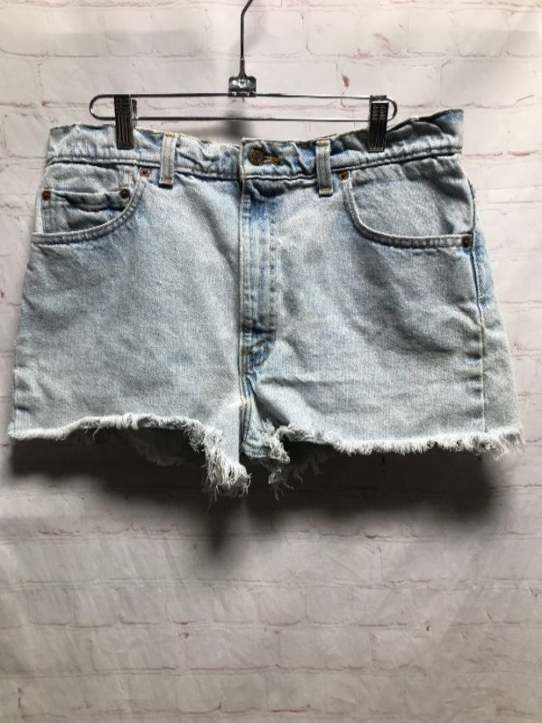 product details: LEVIS DENIM SHORTS CUT-OFF & FRAYED MID-RISE W/ LIGHT ACID WASH photo