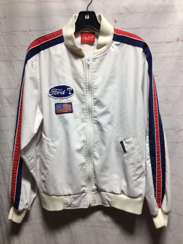 SPORTY COTTON FORD LOGO PATCH ZIP UP JACKET RACING STRIPES RIBBED COLLAR AND CUFFS