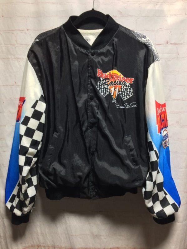 product details: DOPE BUDWEISER RACING BOMBER JACKET W/ BRIGHT GRAPHIC SLEEVE DESIGNS photo