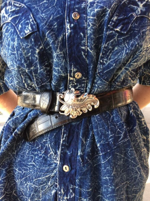 EMBOSSED CROCODILE LEATHER BELT WITH ORNATE SILVER LEAF BUCKLE