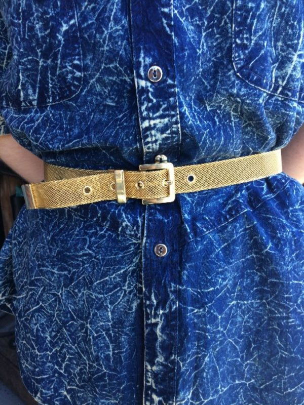 product details: 1980S GOLD MESH METAL BELT HEAVY BUCKLE Made in USA photo