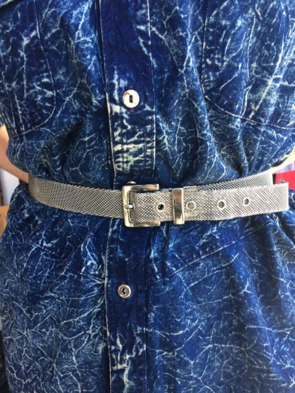 SILVER METAL MESH BELT HEAVY BUCKLE made in usa