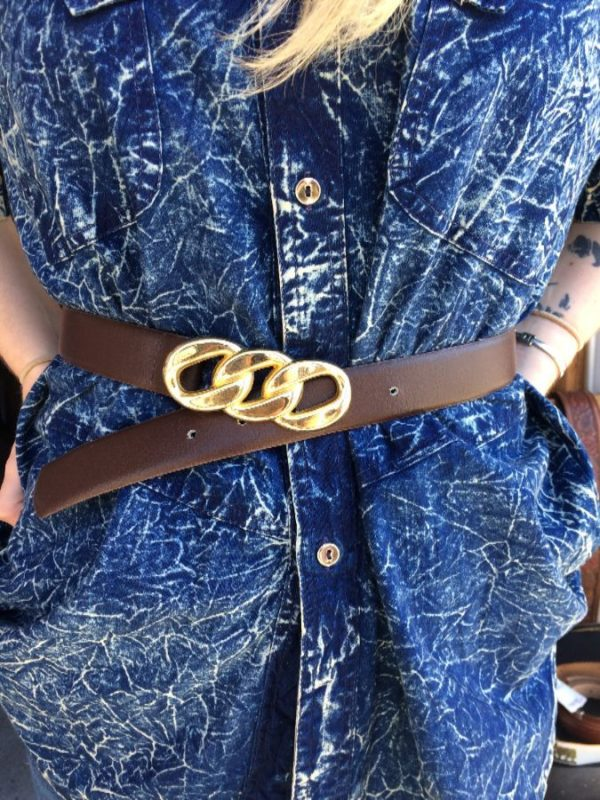 BROWN LEATHER BELT LARGE CHAIN LINK BUCKLE