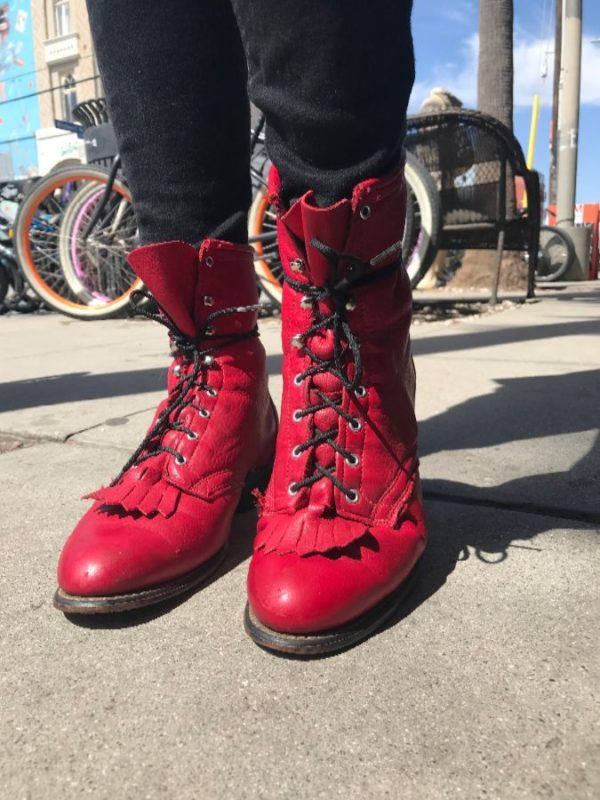 BRIGHT COLORED SOFT LEATHER LACE-UP ANKLE-HIGH ROPER WESTERN BOOTS