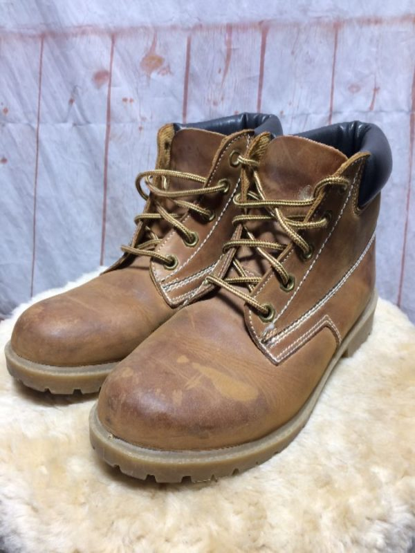 product details: BRUSHED LEATHER LACE UP STEEL TOE WORK BOOTS photo