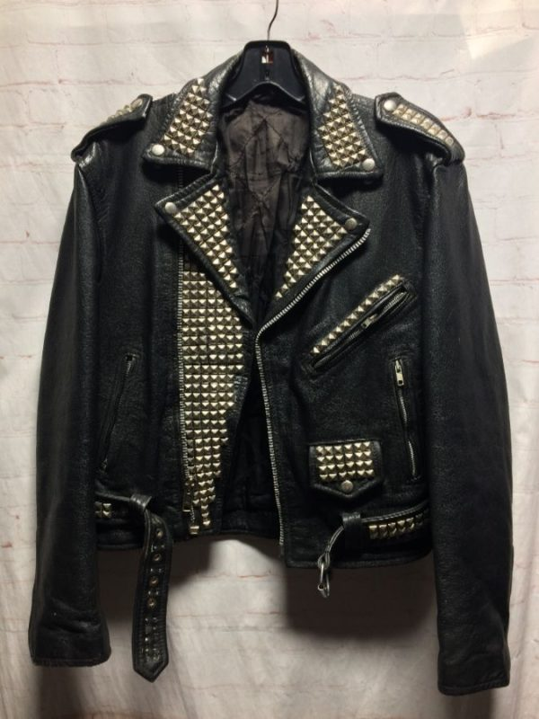 product details: JACKET MOTO STUDDED LEATHER WITH BELT AS-IS photo