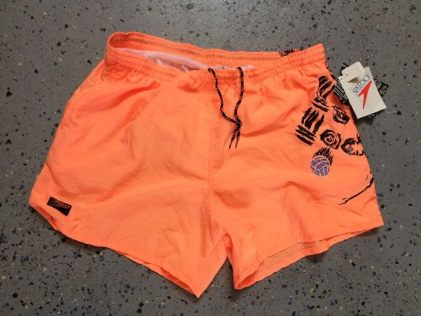 product details: NEON COLORED SWIM TRUNKS W/ VOLLEYBALL PRINT photo