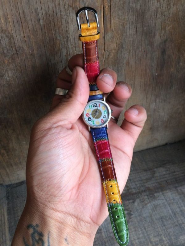 WATCH W/ STRIPED GENUINE LEATHER BAND IN RAINBOW COLORS