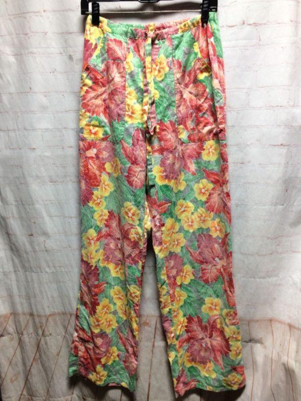 product details: DRAWSTRING WAIST & HAWAIIAN FLORAL PRINT BEACH PANTS photo