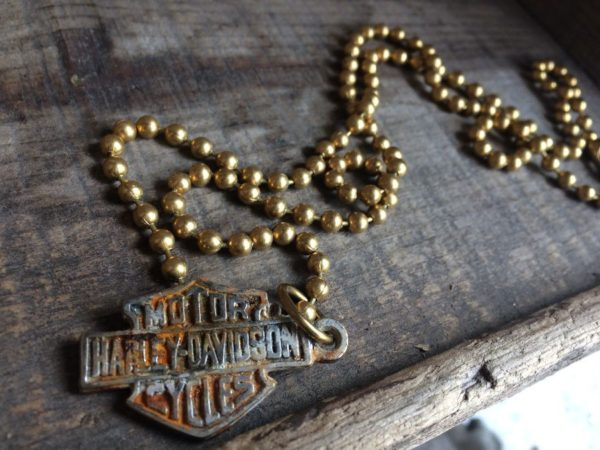 RUSTED HARLEY DAVIDSON PENDANT W/ CHUNKY BRASS BALL CHAIN NECKLACE